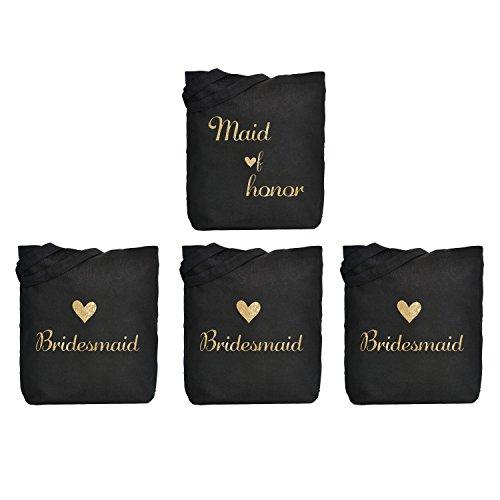 ElegantPark 1 Pcs Maid of Honor Bag + 3 Pcs Bridesmaid Tote Bags Set for Women's Wedding Favors Bachelorette Gift Black with Gold Script 100% Cotton