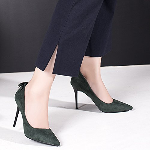 Flannel Pumps Toe Stiletto High Bowknot Pumps Women's Heel Pointed Green HooH AIO7Sn