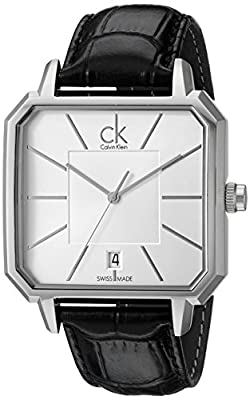 Calvin Klein Men's K1U21120 Concept Stainless Steel Watch with Black Leather Band