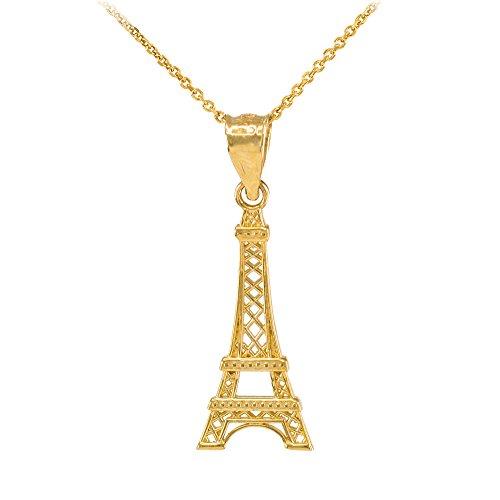Collier Femme Pendentif 14 Ct Or Jaune Tour Eiffel (Livré avec une 45cm Chaîne)