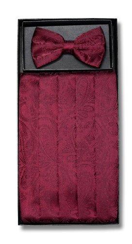 Cumberbund & BowTie BURGUNDY PAISLEY Design Mens Cummerbund Bow Tie Set