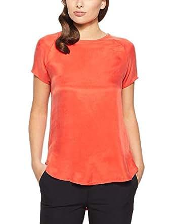 Oxford Women's Katrina Woven Front T-Shirt, Tangerine, 10