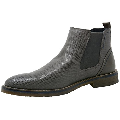 Alpine Swiss Heren Nash Chelsea Boots Slangenhuid Enkellaars Leer Grijs Gevoerd