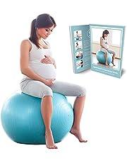 BABYGO Zwangerschap Fitbal Zitbal Fitnesball, Bevalling en Na de bevalling Yoga Oefenbal Fysiobal Gymbal Anti-burst 65cm 75cm + Boek met 35 Zwangerschapsoefeningen en Pomp