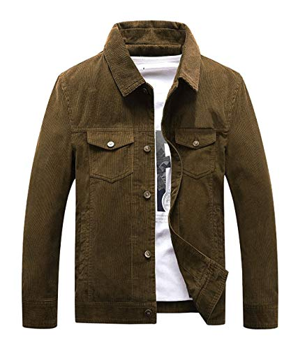 Chartou Men's Vintage Button-Front Slim Fit Corduroy Denim Jacket (X-Large, Coffee) ()