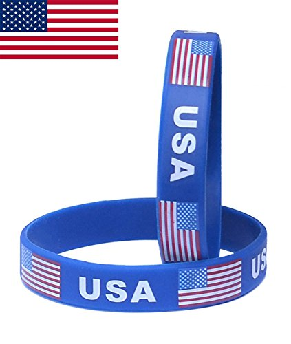 Tovip New American Flag Silicone Bracelet Classic Bangle Letter Pattern 2-Pack