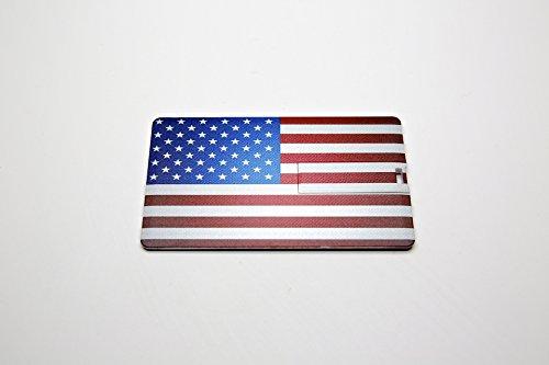 10 8GB Flash Drive - Bulk Pack - USB 2.0 Credit Card 8 GB Flash Drive USA American Flag Design with Flip Tab