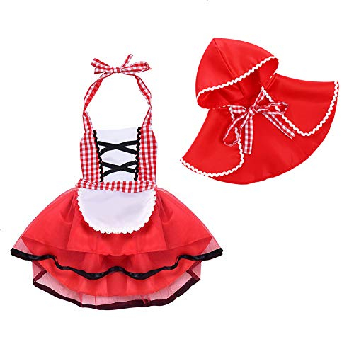Little Red Riding Hood Costume, Toddler Girls Baby Child's Fancy Dress Outfits Halter Backless Clothes Set Size 18-24 ()