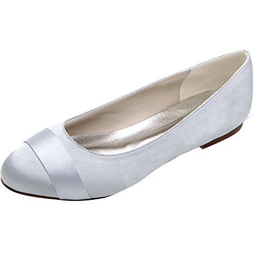 LOSLANDIFEN Women's Round Toe Satin Flats Evening Prom Lo...