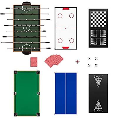 Best Choice Products 2x4ft 10-in-1 Combo Game Table Set w/Pool, Foosball, Ping Pong, Hockey, Bowling, Chess, and More : Sports & Outdoors