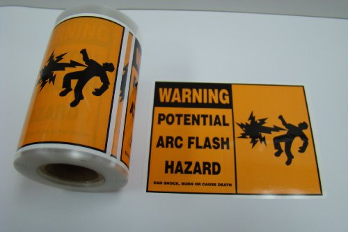 "100 Labels 3"" x 4"" Warning Potential Arc Flash Hazard Shock Burn Stickers"