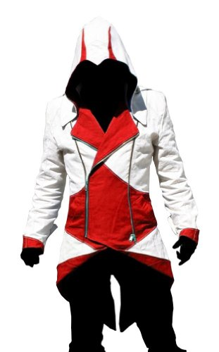 Assassin's Creed 3 Cosplay Costume (C2MOON Assassin's Creed 3 Connor Kenway Hoodie Jacket Costume /Cosplay(Male-3Xlarge, White/Red))