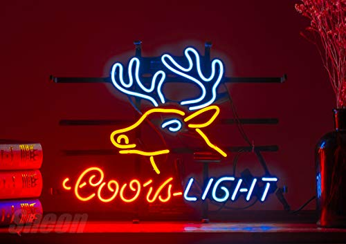 (LinC Neon Sign-Three Home Decor Light for Bedroom Garage Beer Bar and Nightclub, Real Glass Neon Light Sign for Wall Decor Art (coors Deer))