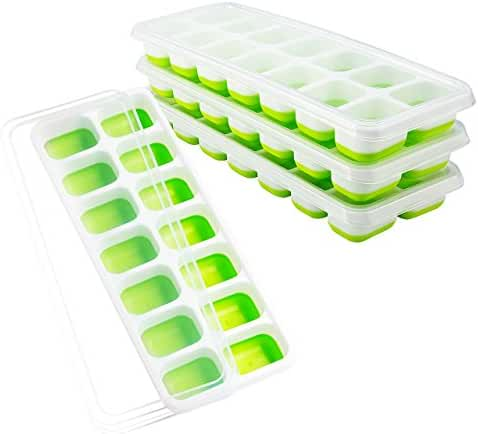 OMorc Ice Cube Trays 4 Pack, Easy-Release Silicone and Flexible 14-Ice Trays with Spill-Resistant Removable Lid, LFGB Certified & BPA Free, Stackable Durable and Dishwasher Safe