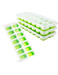 OMorc Ice Cube Trays 4 Pack, Easy-Release Silicone and Flexible 14-Ice Trays with Spill-Resistant Removable Lid, LFGB Certified and BPA Free, Stackable Durable and Dishwasher Safe (Green)