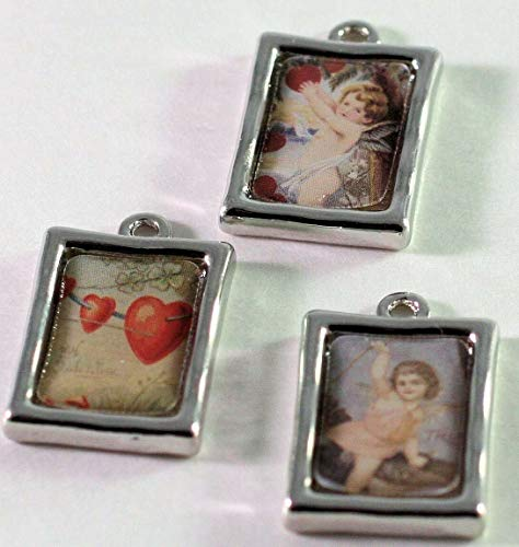 3 Silver Plated Pewter 20x15mm Photo Frame Charms with Hearts &, Cherubs