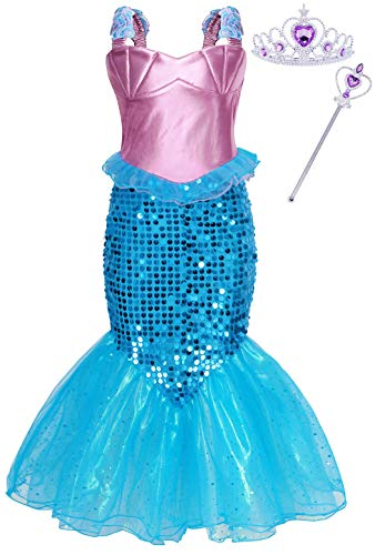 Cotrio Little Mermaid Ariel Costume Outfits with Accessories Girls Princess Dress Up Kids Halloween Fancy Party Dresses Size 10 (8-9Years, Tiara/Crown, Wand/Scepter)