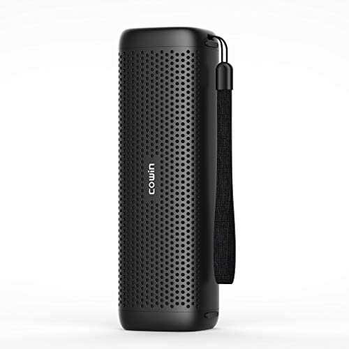 COWIN Mighty Rock 6110 Bluetooth Speakers, Portable Wireless Speaker,TF Card Support with 16W Enhanced Bass, High-End Fashion Aluminum-Alloy Shell Black
