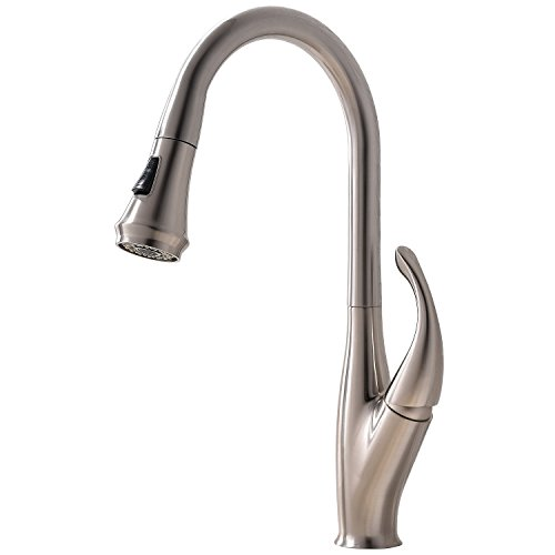 Ufaucet Modern Lead-free Single Lever High Arch Sigle Hole Brushed Nickel Kitchen Faucet, Pull Out Kitchen Sink Faucet Without Deck Plate by Ufaucet