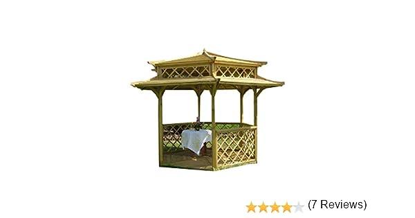Cenador de madera para jardín, pagoda japonesa hexagonal, diámetro 2,5 m: Amazon.es: Hogar