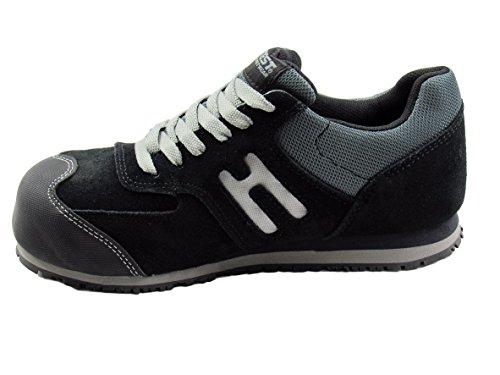 Hytest Women's Athletic Oxford Steel Toe, Electrical Hazard, Slip Resistant Safety Work Shoe (7.5W US, Black)