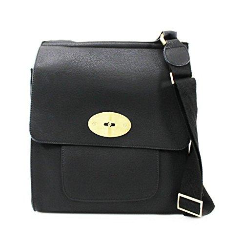 LeahWard? Women's Cross Body Flap Handbags High Quality Faux Leather Shoulder Across Body Bag For Women Girls Mum's Tote Grab Bag Black Cross Body Bag