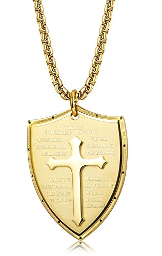 LOLIAS Stainless Steel Pendant Necklace for Men Shield Armor of God Ephesians 6:16-17 Cross Necklace 24 Inches Gold-tone (Gods Shield)