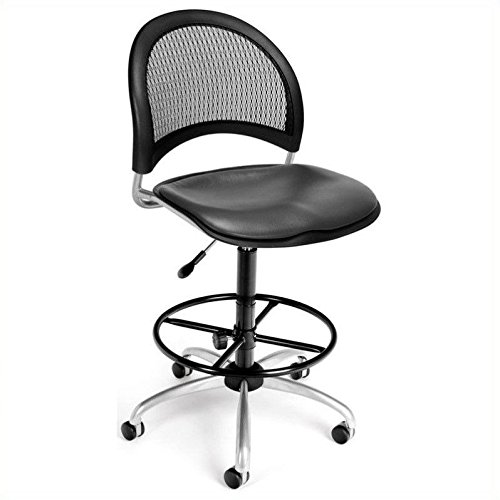 (OFM 336-VAM-DK-604 Moon Swivel Vinyl Chair with Drafting Kit, Charcoal)