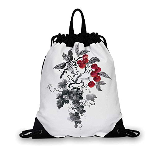 Rowan Nice Drawstring Bag,Rural Nature Inspired Artistic Foliage Composition Wild Berry Plant with Leaves For hiking,7.4