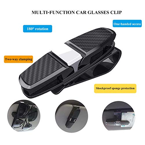 Gemini/_mall/® 2 Pcs Car Glasses Holder Sunglasses Clip Sun Visor Clip Car Ticket Card Clip Holder Auto Vehicle Accessories Red