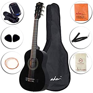 ADM Beginner Classical Guitar 30 Inch Nylon Strings Wooden Guitar Bundle Kit with Carrying Bag & Accessories, Black 41c5pdAAwQL