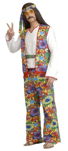 Forum Generation Hippie Hippie Dippie Costume, Rainbow, (Plus Size Mens Halloween Costumes)