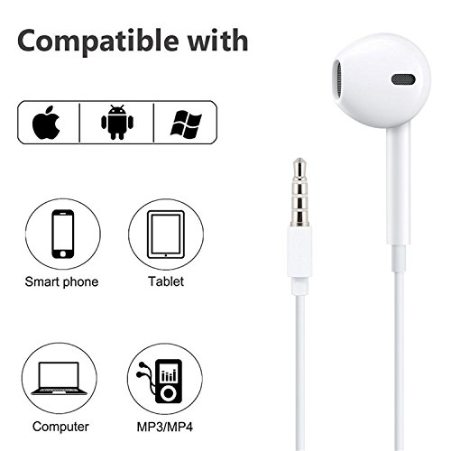 iPhone Headphones Ear Buds with Mic Remote Volume Control Earphone Headset Compatible iPhone 6s 6 5s Se 5 5c 4s Plus iPod iPad White (2-Pack) by Generic (Image #3)
