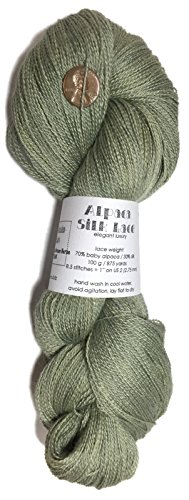 Artisan Yarns Hand Dyed Alpaca Silk Yarn, Subtle Shades of Dried Green Herbs, Lace Weight, 100 Grams, 875 Yards, 70/30 Baby Alpaca/Mulberry Silk