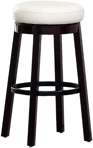 Furniture of America Barthe Leatherette and Wood Swivel Bar Stool, White, Set of 2