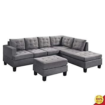 MOOSENG, 3-Piece Sectional Set with Chaise Lounge and Ottoman Mid Century Modern Perfect for The Living Room Sofas, Gray