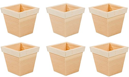 Creative Hobbies 3 inch Tall Unfinished Wooden Flower Pots, Pack of 6, Ready to Paint Or -
