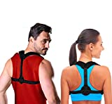 ABWIOZ Posture Corrector for Men and Women - Adjustable Back Brace for Shoulder & Spine Support - Perfect Back Straightener with Airflow Engineered for Extra Comfort Black