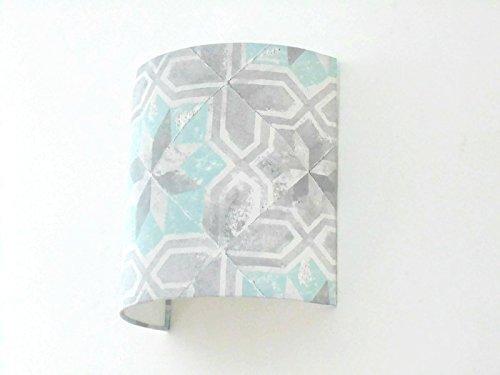 Applique murale carreaux ciment - faïence - béton - pastel bleu gris- demi cylindre - demi-lune 20 cm - idée cadeau - wall light - hygge - taille personnalisée