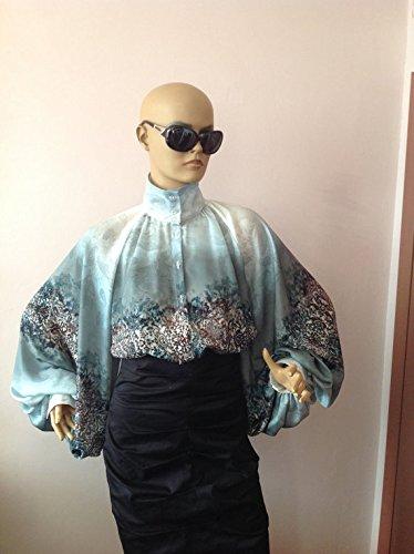 Formal Womens silk blouse/ Blue printed satin cocktail blouse/Victorian collar Blouse, Shirt