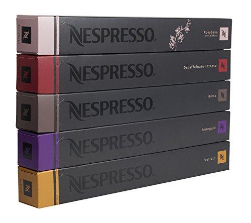 """50 Nespresso OriginalLine Capsules: 10 Rosabaya, 10 Volluto, 10 Arpeggio, 10 Roma, 10 Decaffeinato Intenso - """"NOT compatible with Vertuoline"""""""