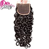 Beauty Forever Free Part Lace Closure Brazilian Water Wave Human Virgin Hair Lace Closure 4x4 Natural black color(10 inch closure)