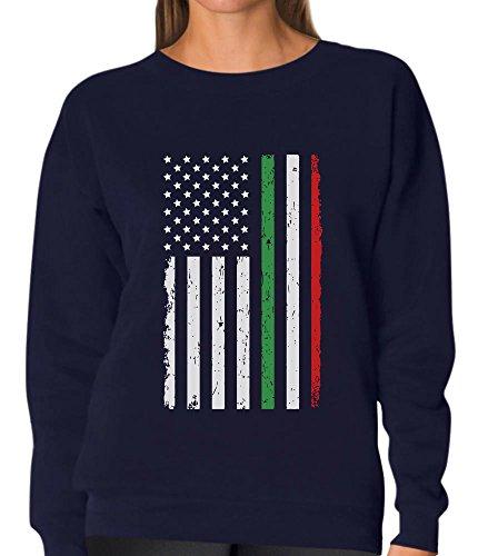 4th of July Big Distressed Italian American Flag - Italy U.S.A Women Sweatshirt Large Navy ()