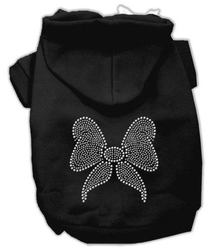 Mirage Pet Products 12-Inch Rhinestone Bow Hoodies, Medium, Black