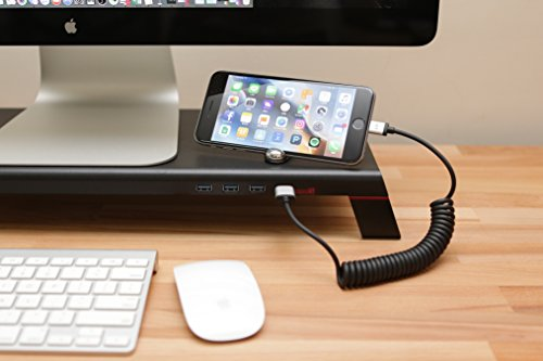 MONITORMATE Minis Monitor Stand with USB3.0 hub, Fast Charger and External Power Supply(Black) by Monitormate (Image #4)
