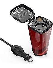 BESTEK växelriktare 200 W koppformad bilspänning omvandlare DC 12 V till AC 230 V effektinverterare med 2 USB-anslutningar, cigarettändaradapter