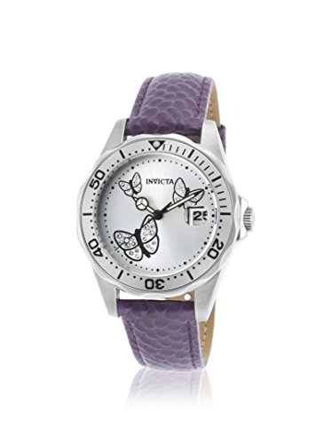 Invicta Pro Diver White Dial Purple Leather Ladies Watch 19740