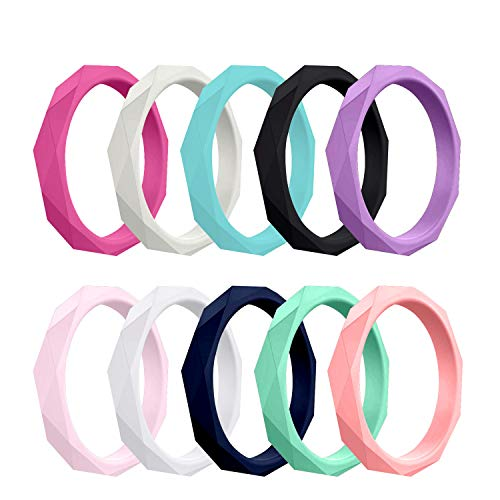 COOLOO 10 Packs Silicone Wedding Ring for Women, Stackable Rubber Wedding Bands for Female, Colorful Athletic Ring Sets Ladies Workout Fitness Band for Sport (Best Athletic Wedding Bands)