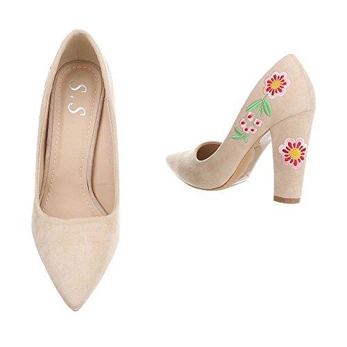 de Zapatos Beige Altos Ital Design Zapatos Para Tacón Mini Mujer Tacones Tacon qxBT4X