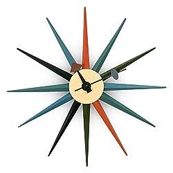 LeisureMod Maxi Modern Design Metal Colorful Star Silent Non-Ticking Wall Clock (Multi)